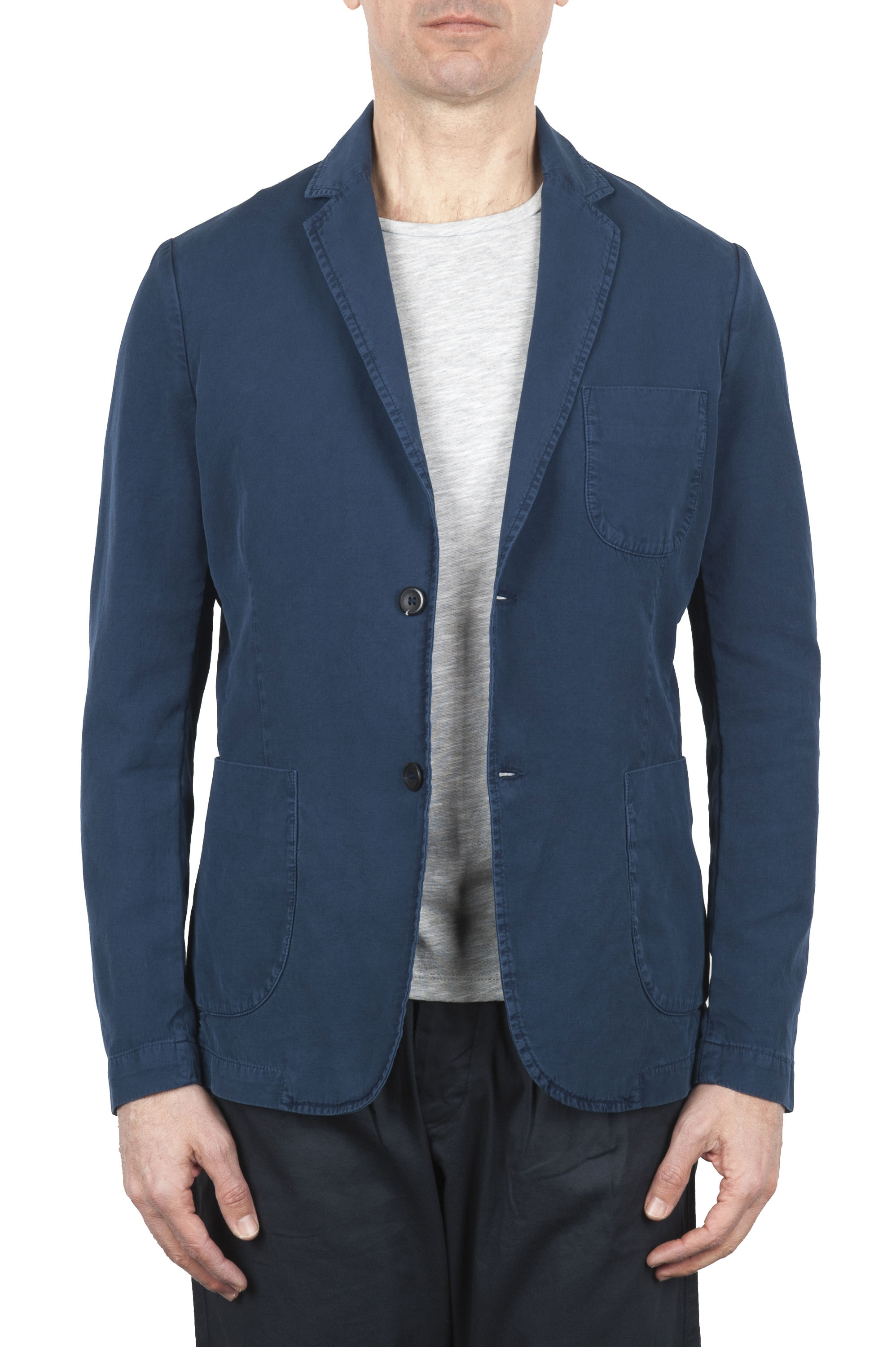 SBU 01731_2020SS Blue cotton sport jacket unconstructed and unlined 01