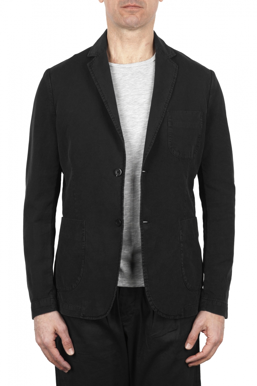 SBU 01733_2020SS Black cotton sport jacket unconstructed and unlined 01