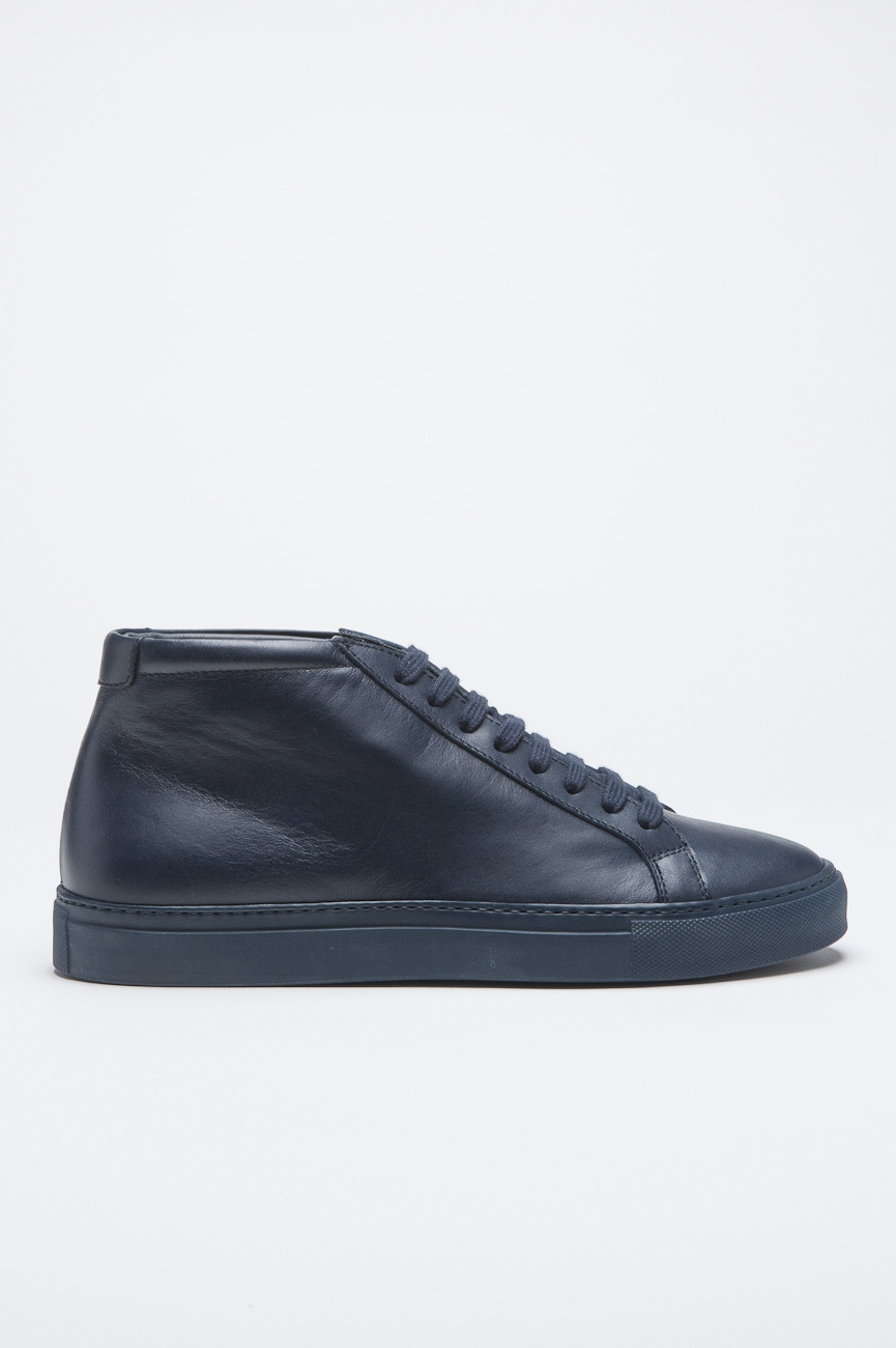 SBU - Strategic Business Unit - Classic Mid Top Sneakers In Blue Calf-Skin Leather