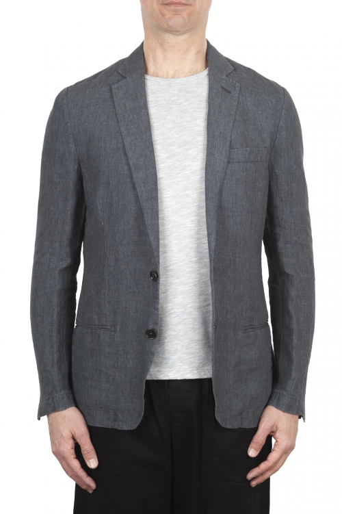 SBU 01776_2020SS Single breasted unconstructed grey linen blazer 01