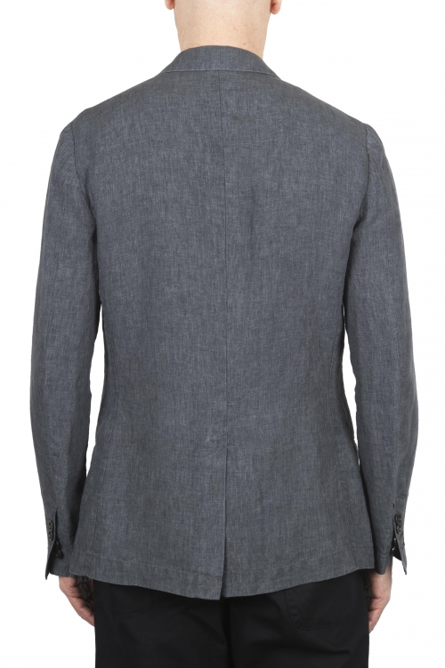SBU 01776_2020SS Blazer en lin gris à boutonnage simple 01