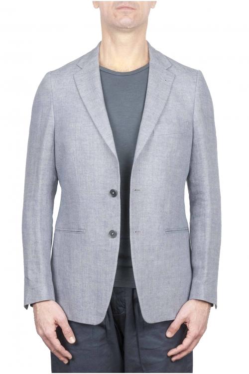 SBU 01736_2020SS Single breasted dark grey linen blended blazer 01