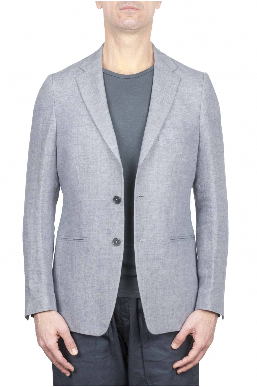 SBU 01736_2020SS Single breasted dark grey linen blended blazer 01