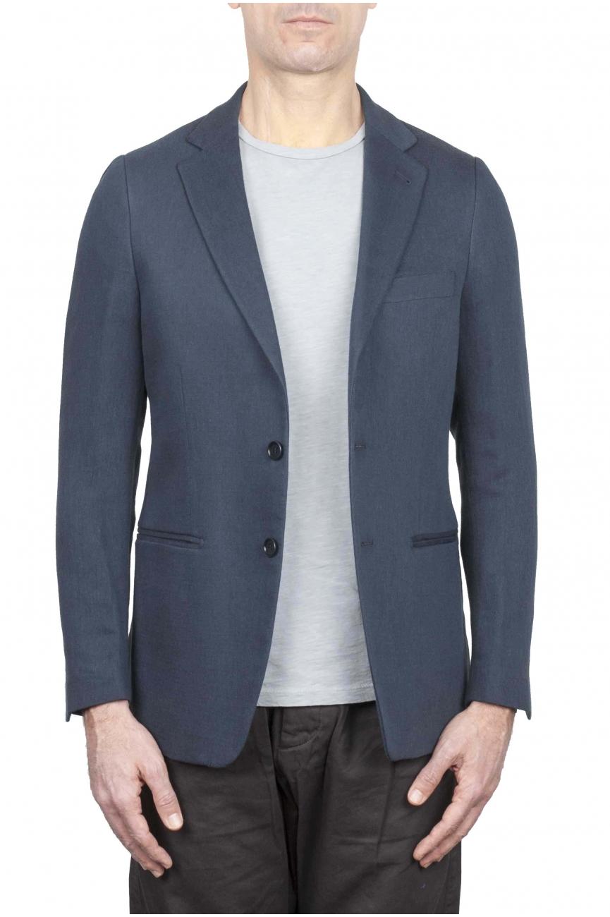 SBU 01738_2020SS Single breasted grey linen blended blazer 01