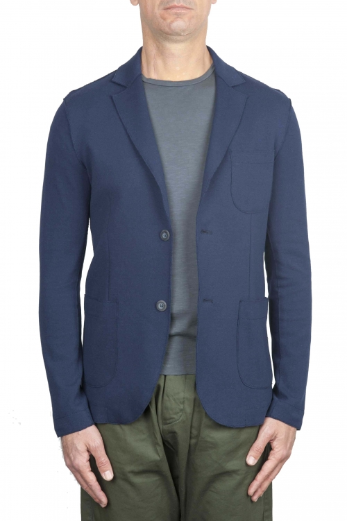 SBU 01739_2020SS Blazer en algodón elástico azul cruzado 01