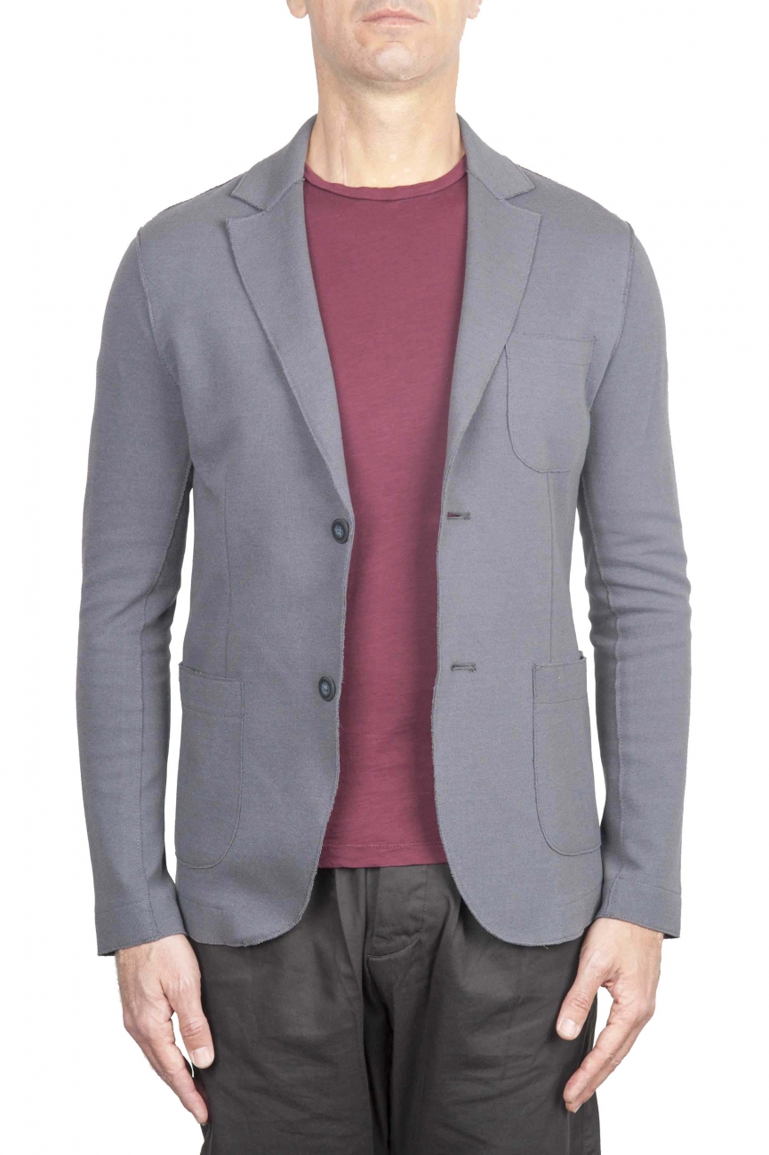 SBU 01740_2020SS Single breasted grey stretch cotton blazer 01