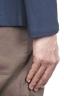 SBU 01735_2020SS Blazer en piqué de coton bleu à boutonnage simple 05