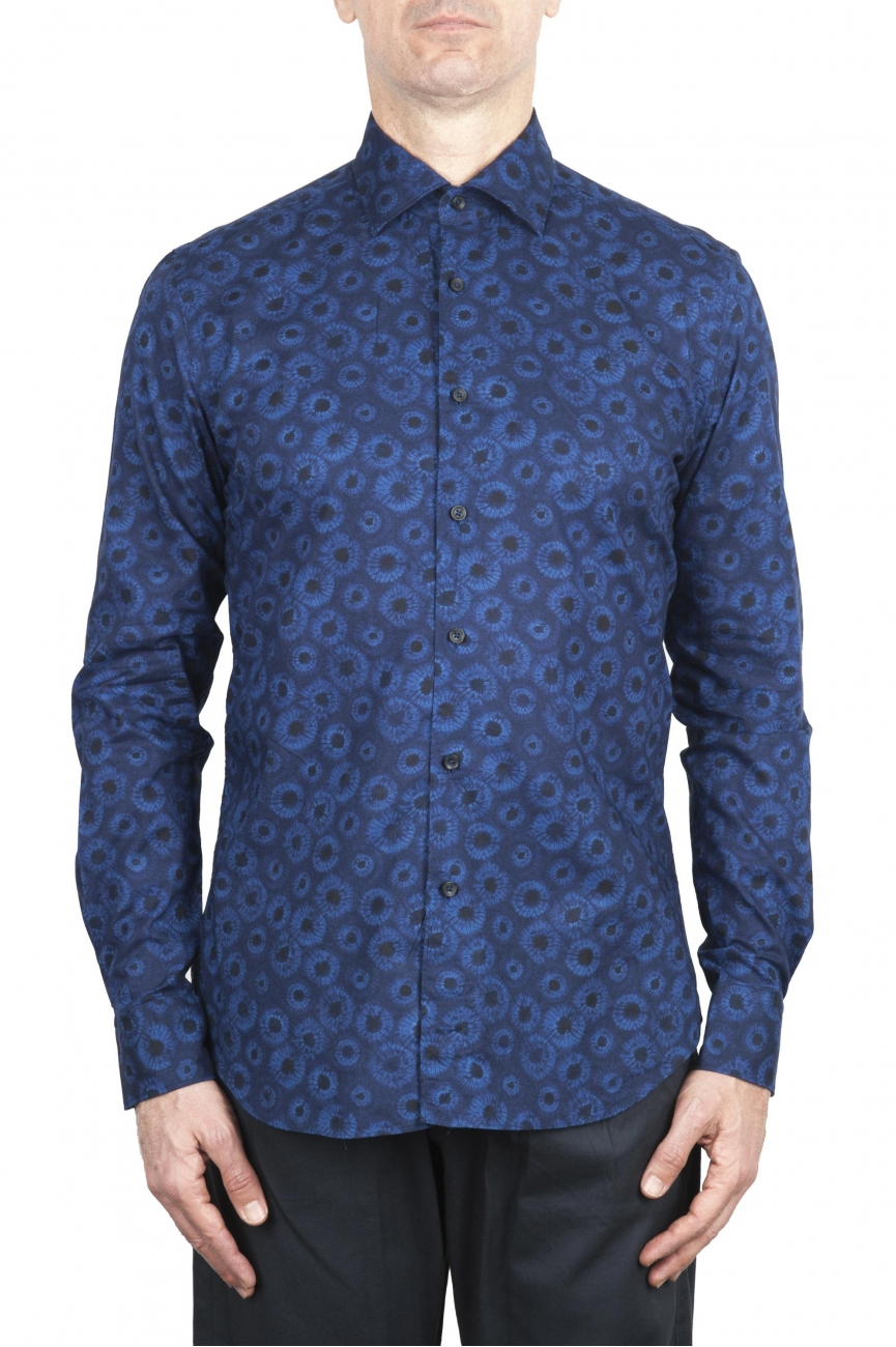 SBU 02001_2020SS Blue patterned cotton shirt 01