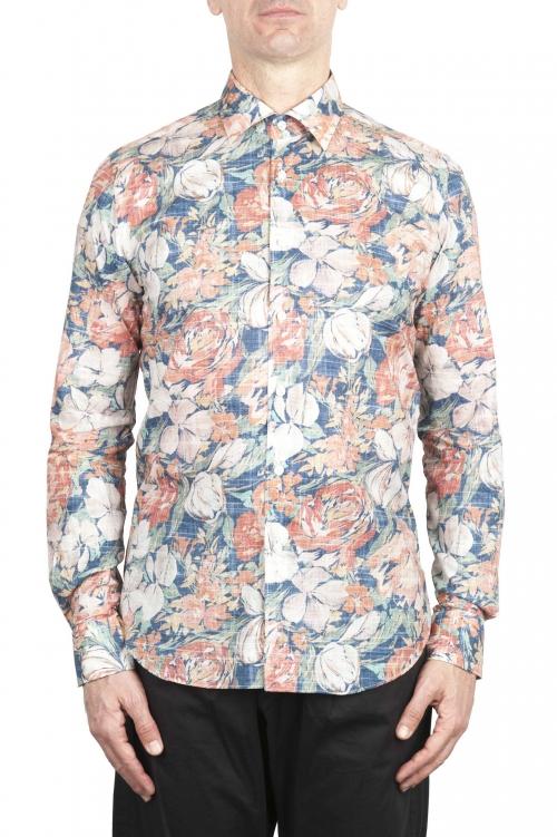 SBU 02002_2020SS オレンジ柄のコットンシャツ 01