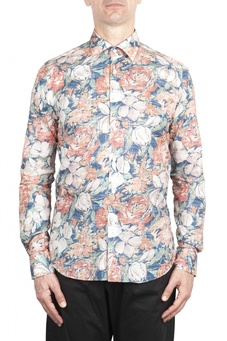 SBU 02002_2020SS Camisa naranja de algodón estampada 01