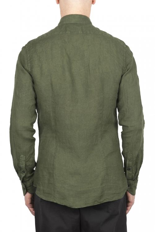 SBU 02012_2020SS Camicia classica in lino verde 01