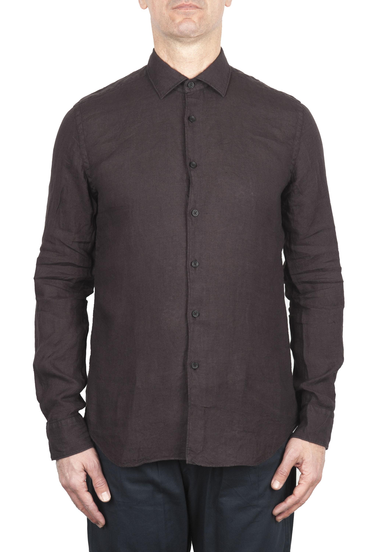 SBU 02013_2020SS Camicia classica in lino marrone 01