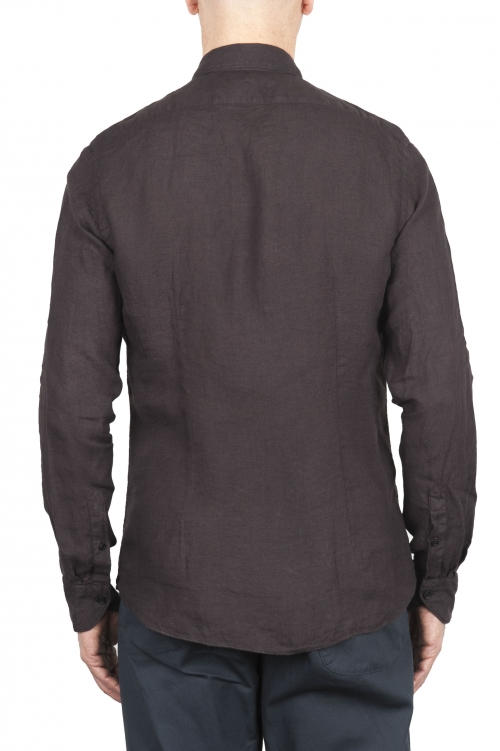 SBU 02013_2020SS Camisa clásica de lino marrón 01