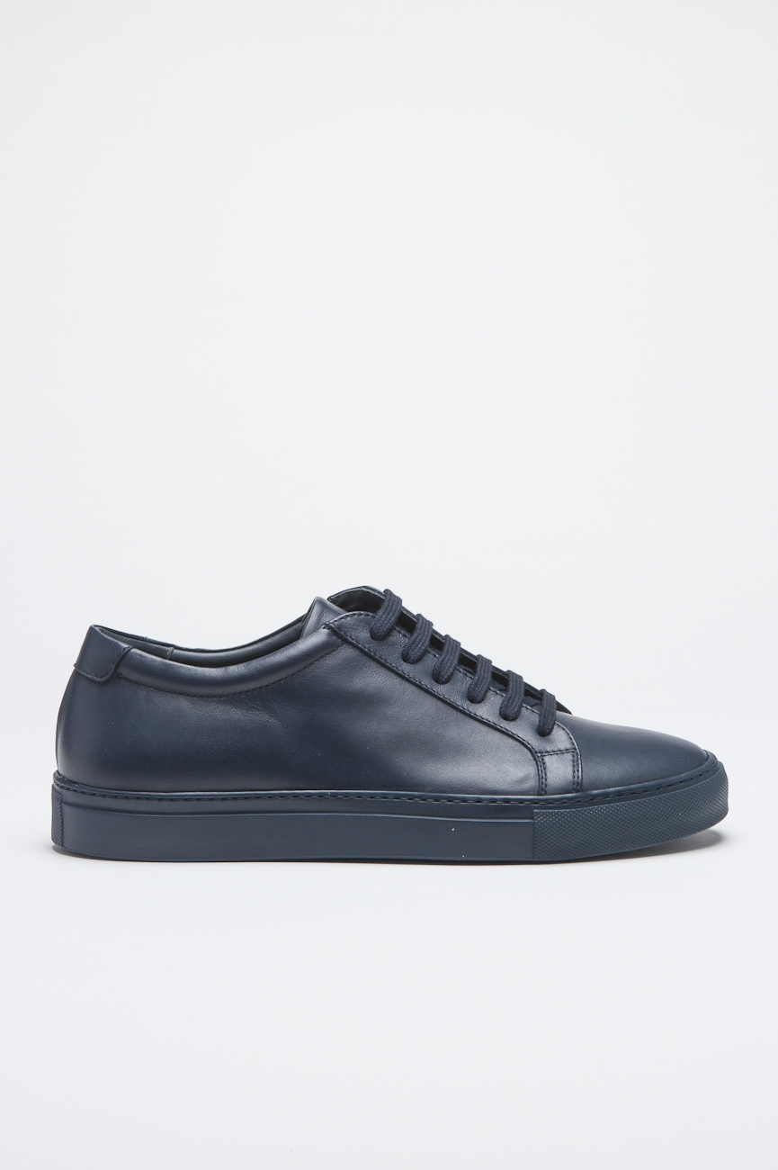 Classic Sneakers In Blue Calf-Skin Leather