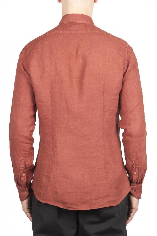 SBU 02020_2020SS Camisa clásica de lino rojo ladrillo 01