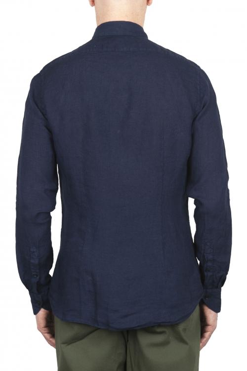 SBU 02021_2020SS Camisa clásica de lino azul 01