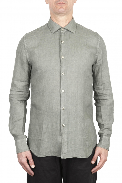 SBU 02022_2020SS Classic olive linen shirt 01