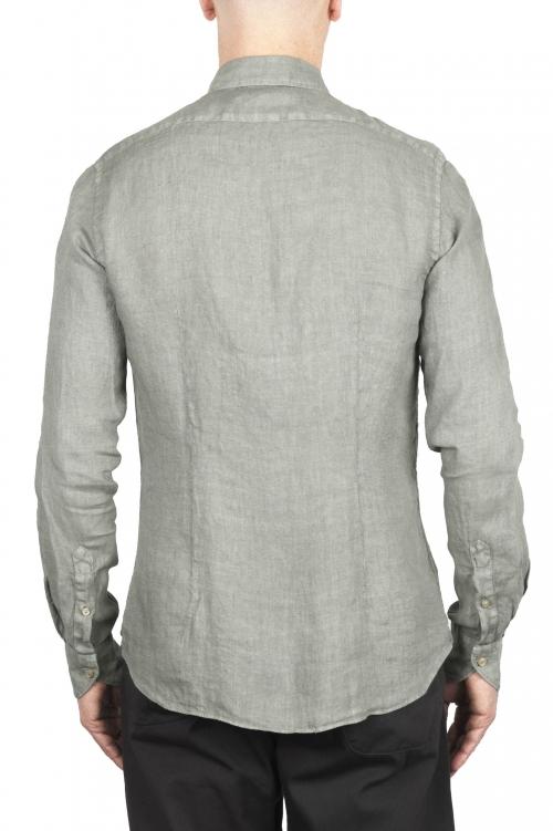 SBU 02022_2020SS Camisa clásica de lino oliva 01