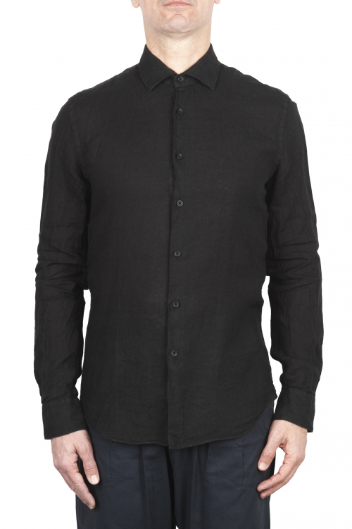 SBU 02023_2020SS Camicia classica in lino nera 01