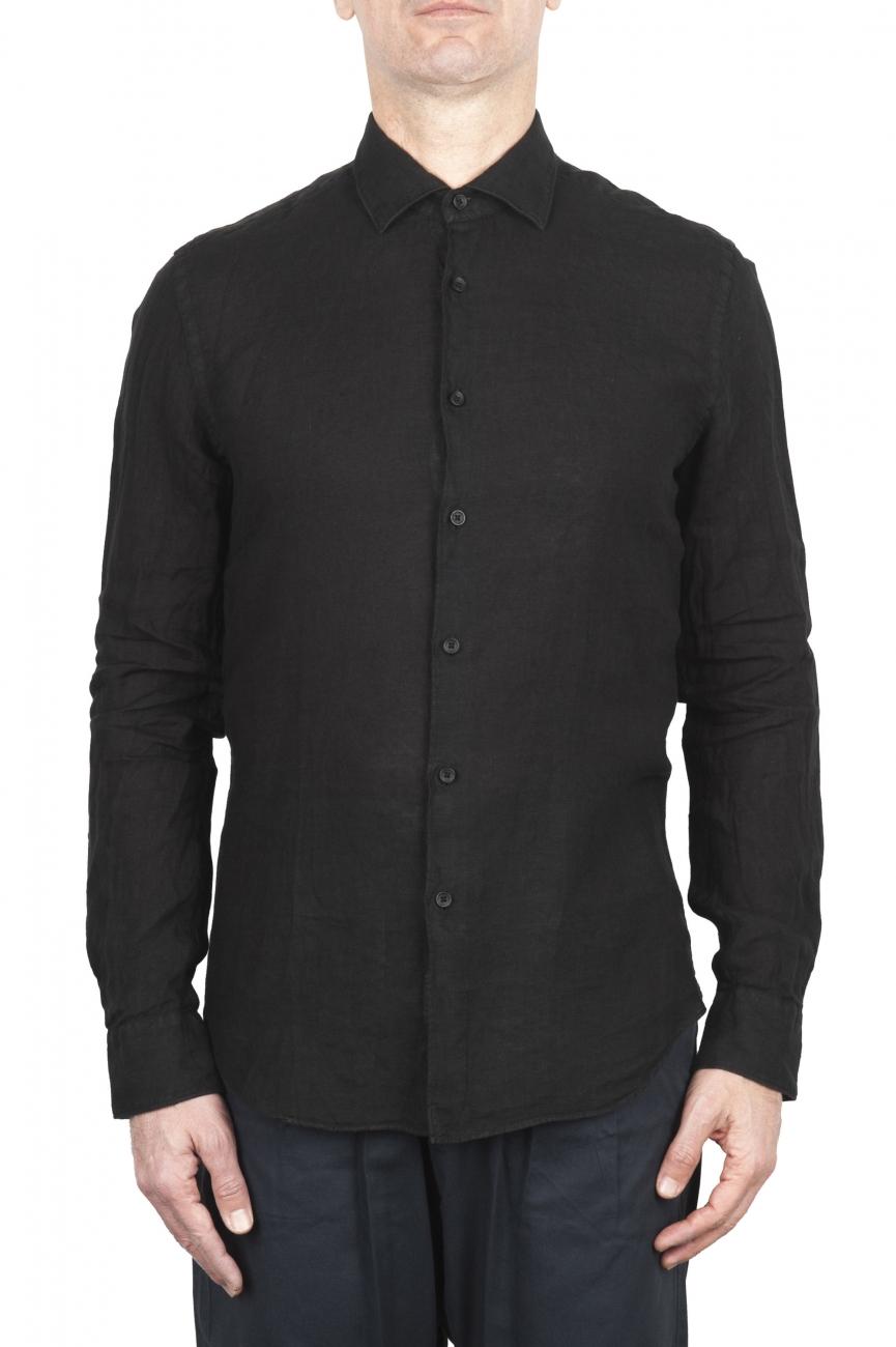 SBU 02023_2020SS Classic black linen shirt 01