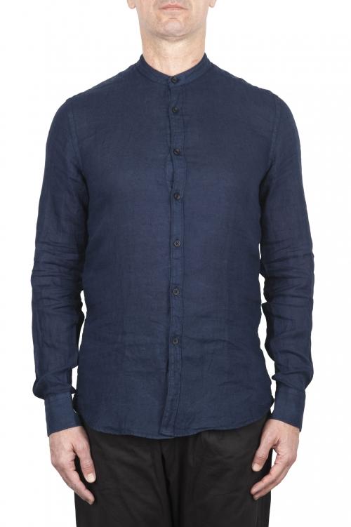 SBU 02024_2020SS Camisa clásica azul de lino de cuello mao 01