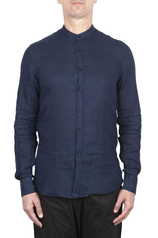 SBU 02024_2020SS Camicia classica con collo coreano in lino blu 01