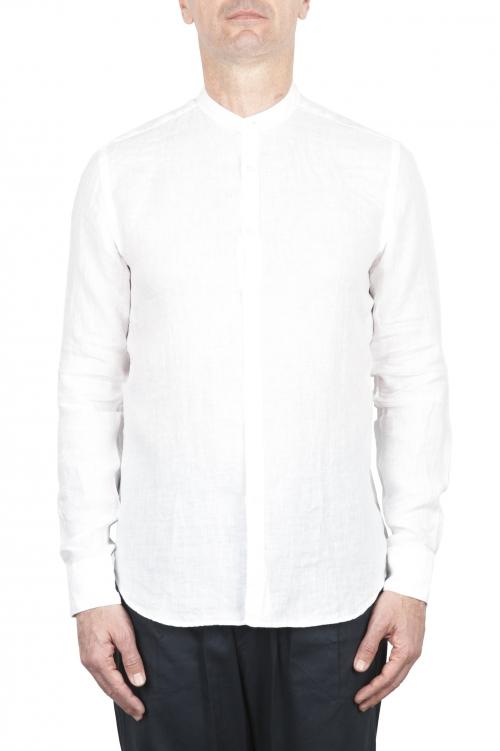 SBU 02025_2020SS Classic mandarin collar blue linen shirt 01