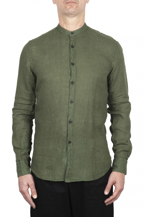 SBU 02026_2020SS Classic mandarin collar green linen shirt 01