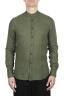 SBU 02026_2020SS Camisa clásica verde de lino de cuello mao 01