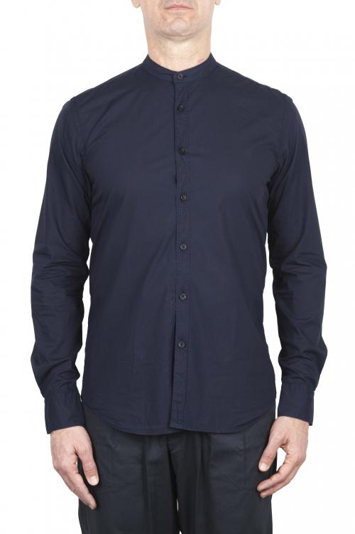 SBU 02028_2020SS クラシックマンダリンカラーブルーコットンシャツ 01