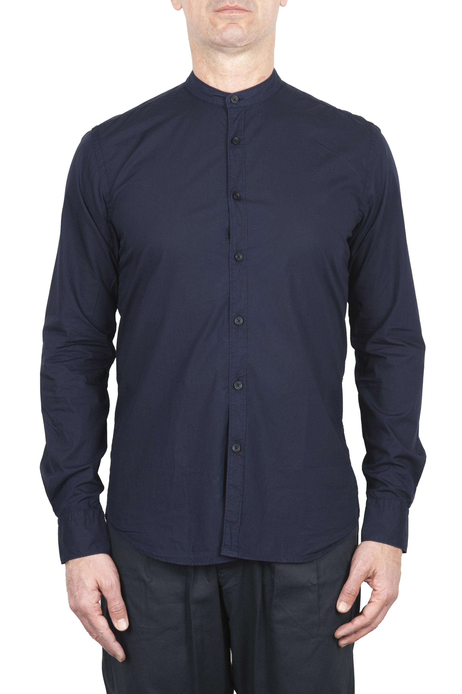 SBU 02028_2020SS Camisa clásica de algodón azul con cuello mandarín 01
