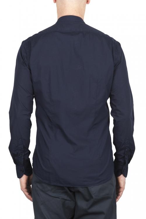 SBU 02028_2020SS Classic mandarin collar blue cotton shirt 01