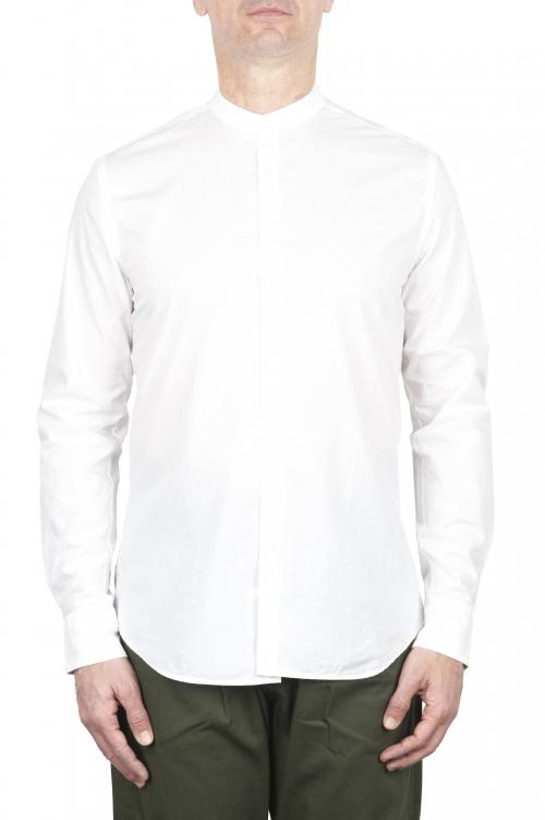SBU 02029_2020SS Camisa clásica de algodón azul con cuello mandarín 01