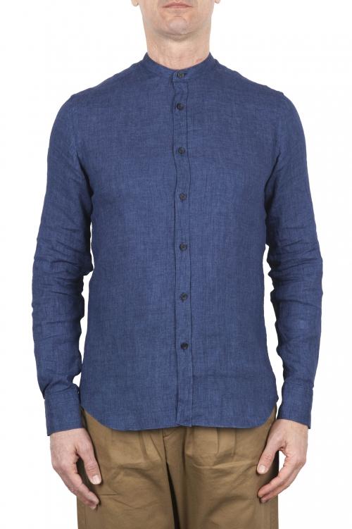 SBU 02027_2020SS Classic mandarin collar blue linen shirt 01