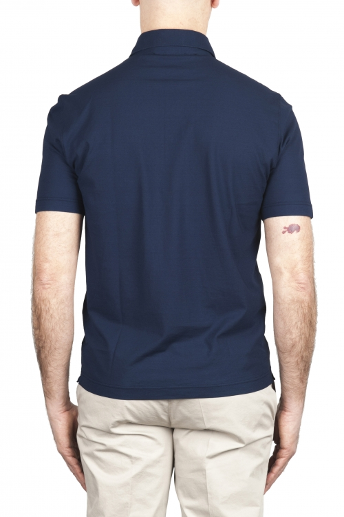SBU 02030_2020SS Polo de crepé de algodón azul de manga corta 01