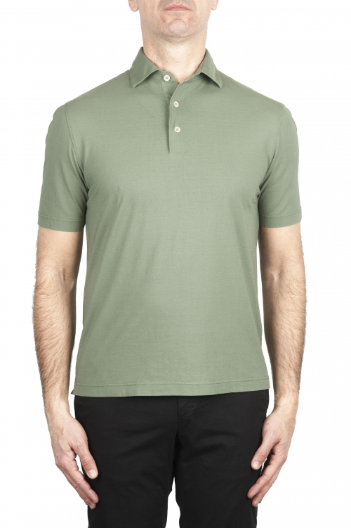 SBU 02031_2020SS Short sleeve green cotton crepe polo shirt  01