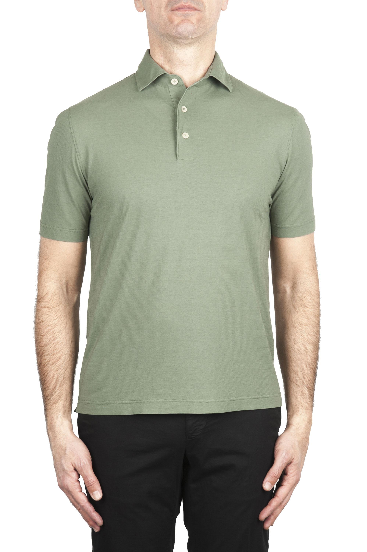 SBU 02031_2020SS Polo de crepé de algodón verde de manga corta 01