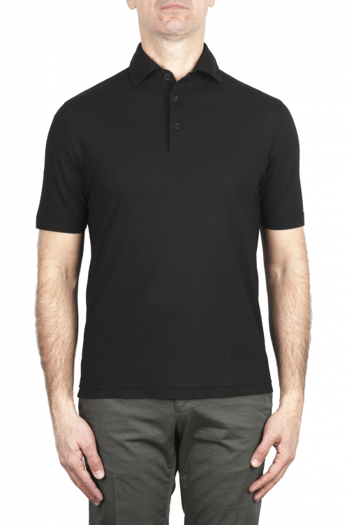 SBU 02032_2020SS Short sleeve black cotton crepe polo shirt  01