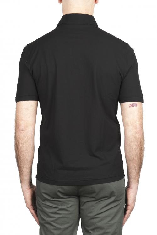 SBU 02032_2020SS Polo de crepé de algodón negro de manga corta 01