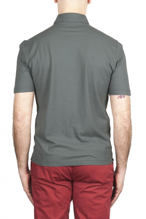 SBU 02035_2020SS Polo de crepé de algodón gris de manga corta 01