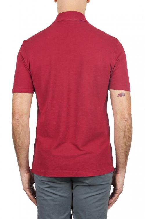 SBU 02036_2020SS Polo clásico de manga corta en crepé de algodón rojo 01