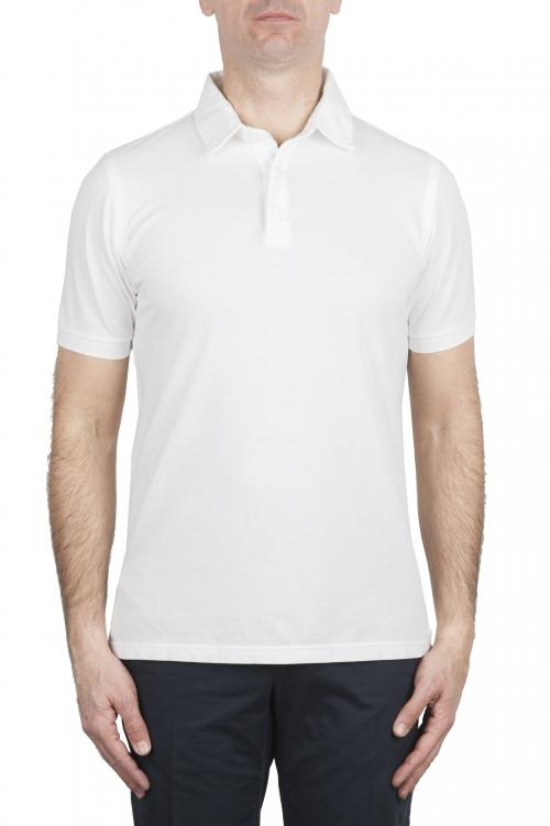 SBU 02037_2020SS クラシック半袖ホワイトコットンクレープポロシャツ 01