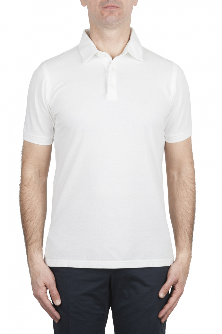 SBU 02037_2020SS Polo clásico de manga corta en crepé de algodón blanco 01