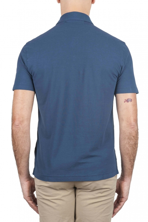 SBU 02038_2020SS Classic short sleeve blue cotton crepe polo shirt 01