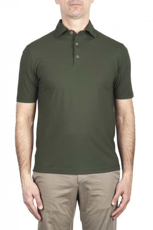SBU 02033_2020SS Short sleeve green cotton crepe polo shirt  01
