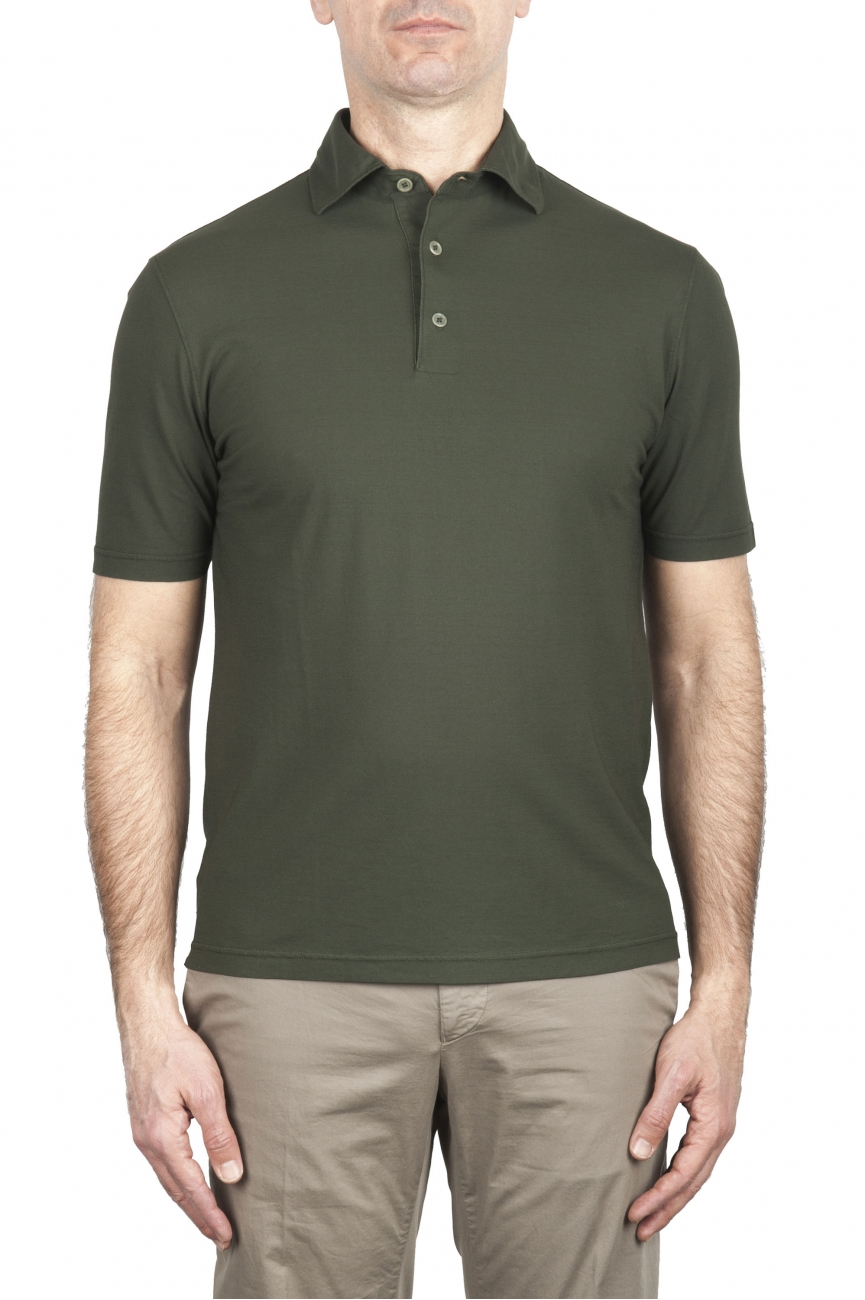 SBU 02033_2020SS Short sleeve green cotton crepe polo shirt  01