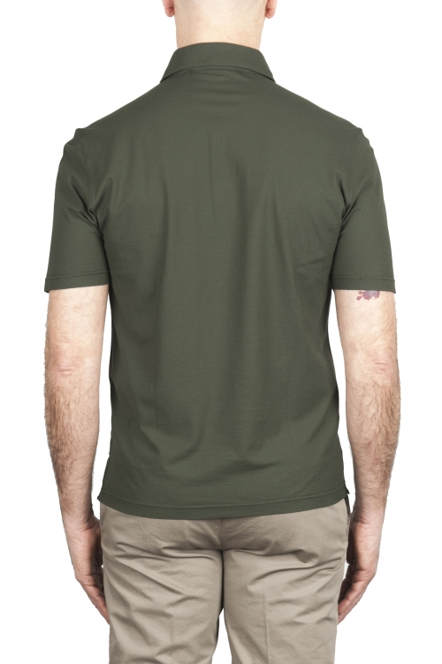 SBU 02033_2020SS Polo de crepé de algodón verde de manga corta 01