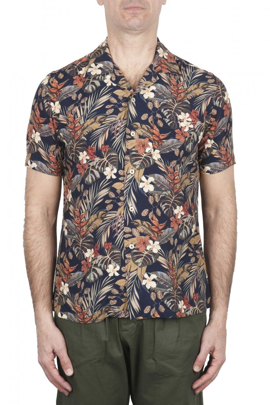 SBU 02831_2020S Camicia hawaiana fantasia floreale nera 01