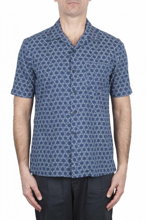 SBU 02832_2020S Camisa de algodón azul estampada hawaiana 01