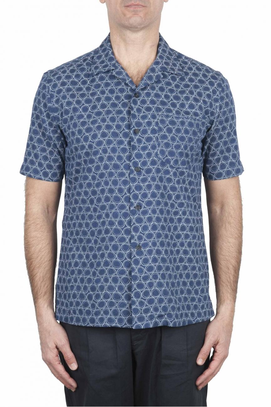 SBU 02832_2020S Hawaiian printed pattern blue cotton shirt 01